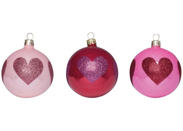 Overbeck and Friends Christbaumkugeln Glitzerherz 12er Set