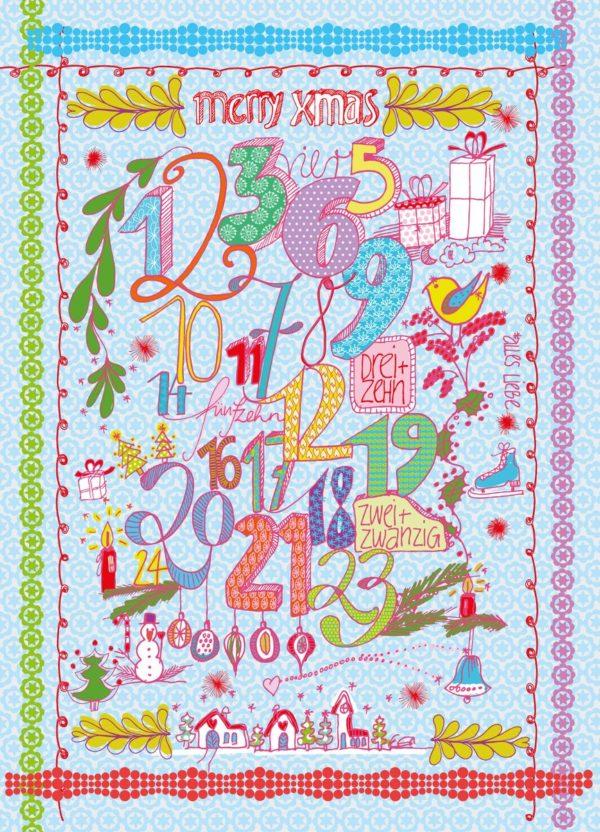 Overbeck and Friends 12er Set Weihnachtskarten – Merry Xmas