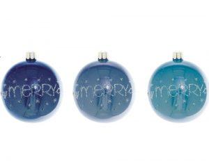 Overbeck and Friends Christbaumkugeln A Very Merry Christmas blau 12er Set