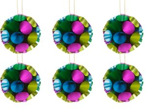 Overbeck and Friends Christbaumschmuck Ball Glitzer türkis-bunt 12er Set