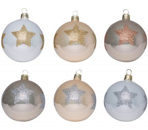 Overbeck and Friends Christbaumkugeln Glitzerstern 12er Set