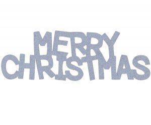 Overbeck and Friends Glitzer Schriftzug Merry Christmas silber