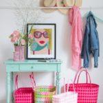 Markttasche Jolie pink-rot u. rosa-weiß klein