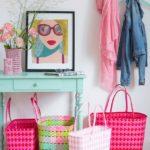 Markttasche Jolie pink-rot u. rosa-weiß kleiner