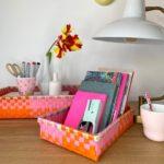 3er Set Körbchen rechteckig pink-orange