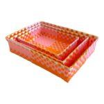 3er Set Körbchen rechteckig Ines pink-orange